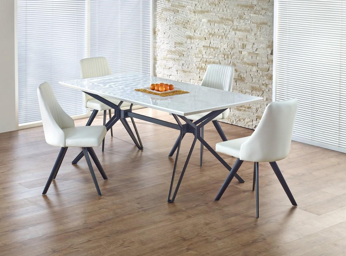 Jedálenský stôl Pascal - Jedálenský stôl 160x90 cm (biely lak, čierna oceľ)