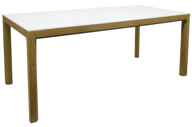 Jedálenský stôl Patch (dub masiv, biele MDF)