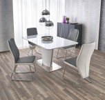 Jedálenský stôl Platon - rozkladací (bílá/stříbrná)