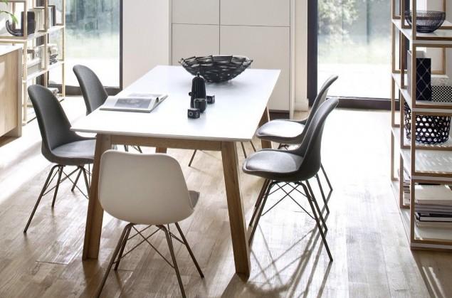 Jedálenský stôl Profil (dub masiv, biele MDF)