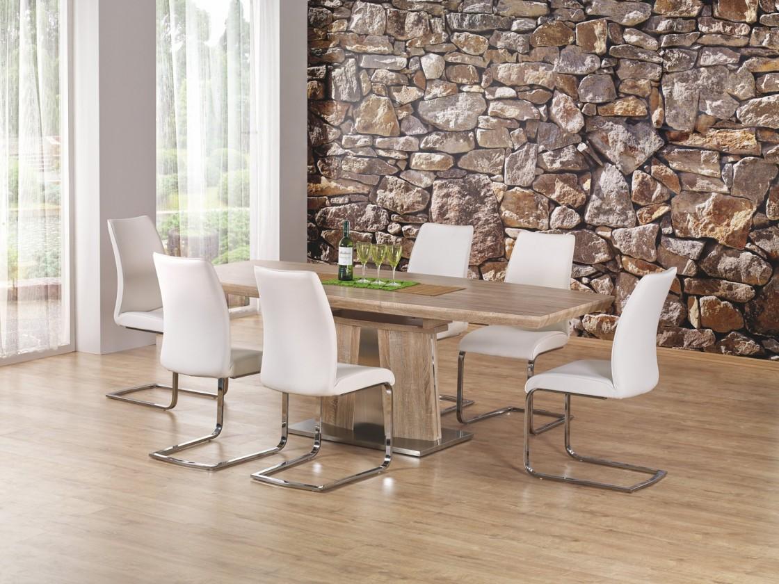 Jedálenský stôl Rafaello - Jedálenský stôl 160-220x90 (dub sonoma, strieborná)
