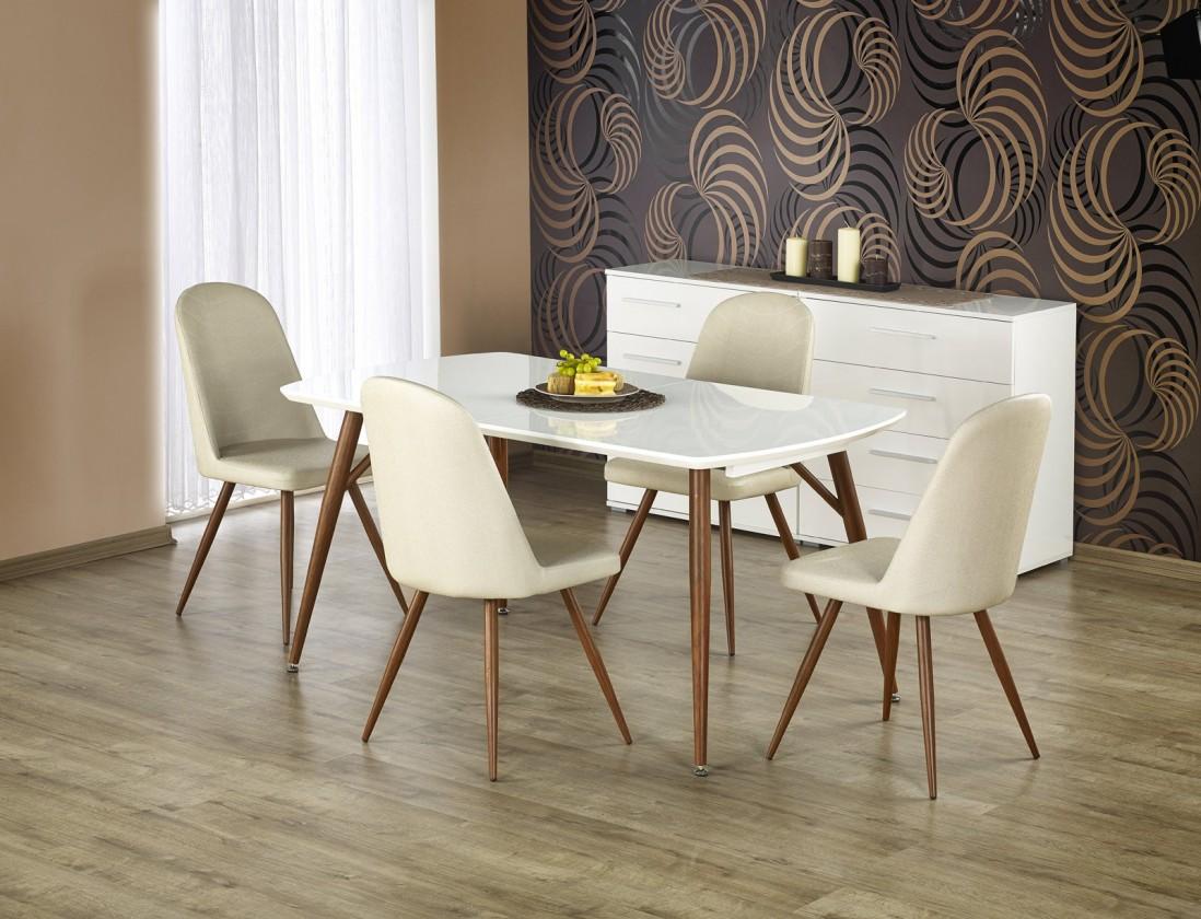 Jedálenský stôl Richard - Stôl 150-190x90 cm (biely lak, antická čerešňa)