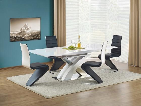 Jedálenský stôl Sandor  (biela,nerez)
