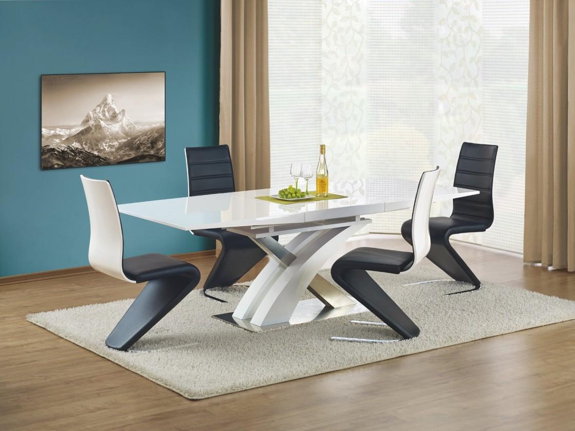 Jedálenský stôl Sandor - Jedálenský stôl 160-220x90 cm (biely lak, strieborná)