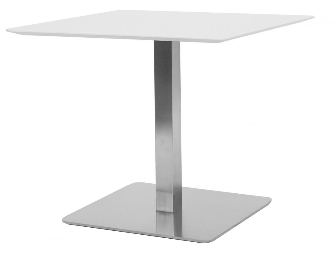 Jedálenský stôl T-BAR - 75/70/70 (nerez, biele MDF)
