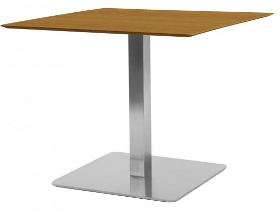 Jedálenský stôl T-BAR - 75/70/70 (nerez, dýhované MDF orech)