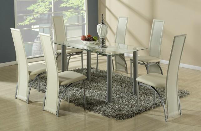 Jedálenský stôl Talon (bezbarvý s béžovým pásem)