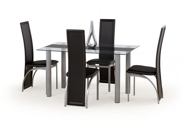 Jedálenský stôl Talon (bezbarvý s černým pásem)