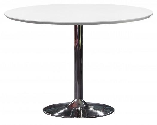 Jedálenský stôl Tequila - 110/74,5/110 (chrómovaná oceľ, lakované biele MDF)
