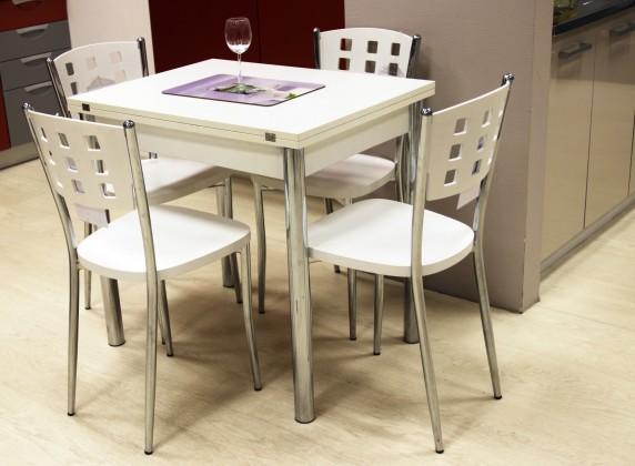 Jedálenský stôl Treviso, rozkladací (biela/chróm)