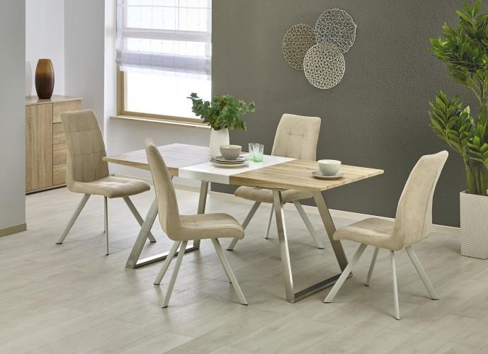 Jedálenský stôl Trevor - rozkladací (bílá/dub sonoma/stříbrná)