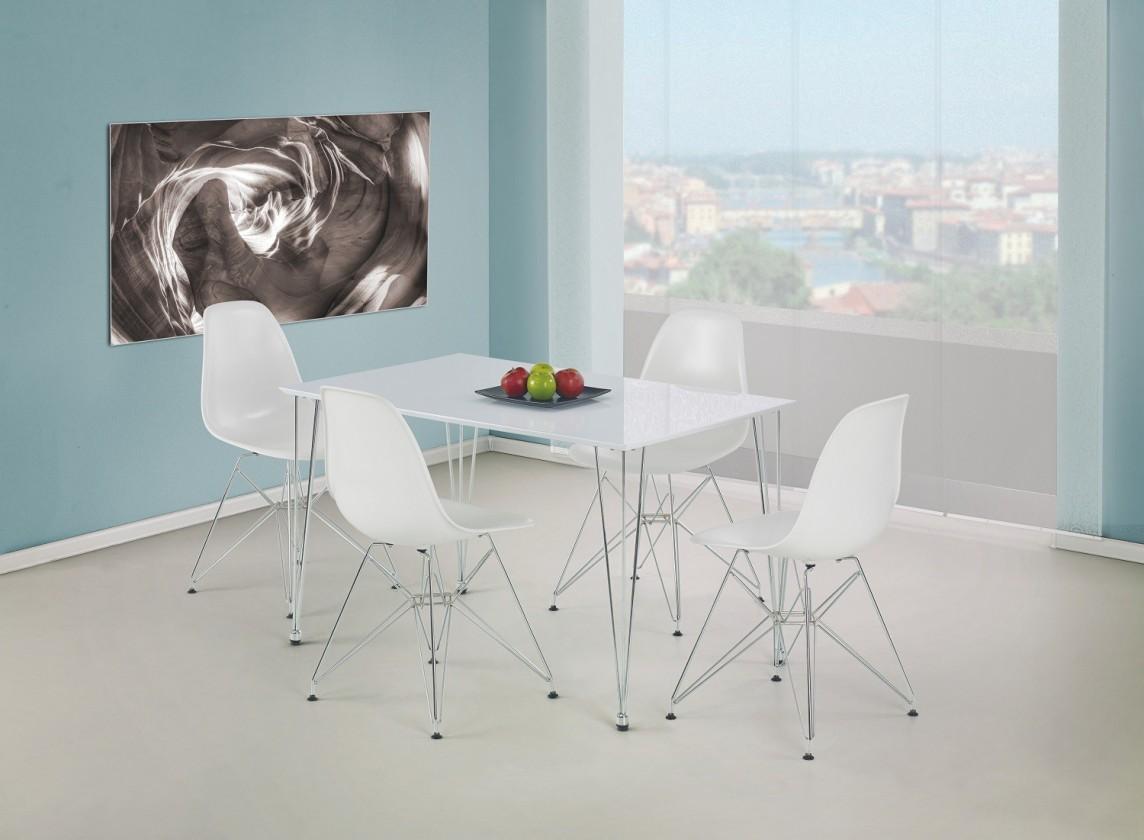 Jedálenský stôl Twister  - jedálenský stôl (biela/ocel)