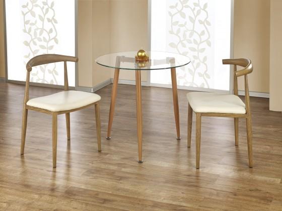 Jedálenský stôl Ulster - Jedálenský stôl guľatý 80 cm (jelša, číre sklo)