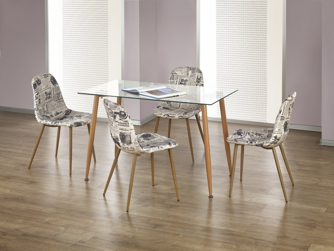 Jedálenský stôl Ulster - Jedálenský stôl obdĺžnik 120x70 cm (jelša, číre sklo)