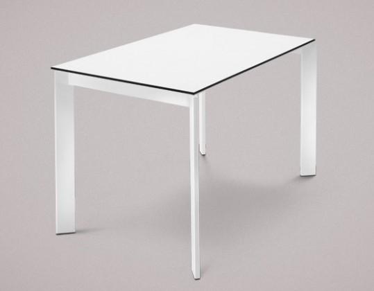 Jedálenský stôl Universe-110 (biele - nohy, lamino biele - doska)
