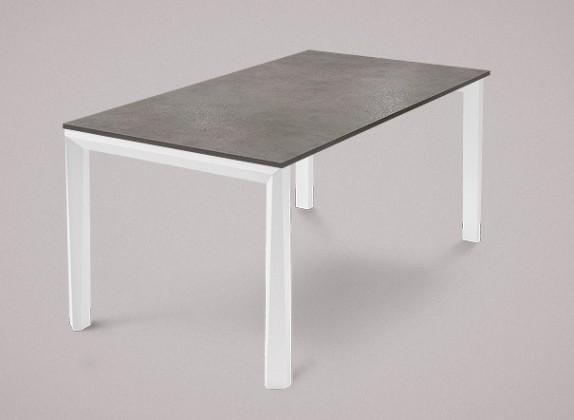 Jedálenský stôl Universe-130 (biela mat štruktúra,lamino kameň sivobéžový)