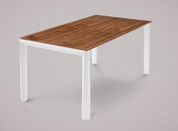 Jedálenský stôl Universe-130 (biela mat štruktúra - nohy, orech - doska)