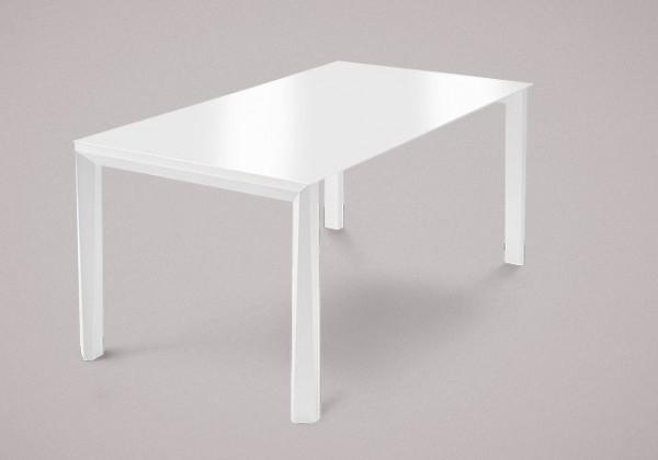 Jedálenský stôl Universe-130 (biela mat štruktúra-nohy,sklo extra biele-doska)