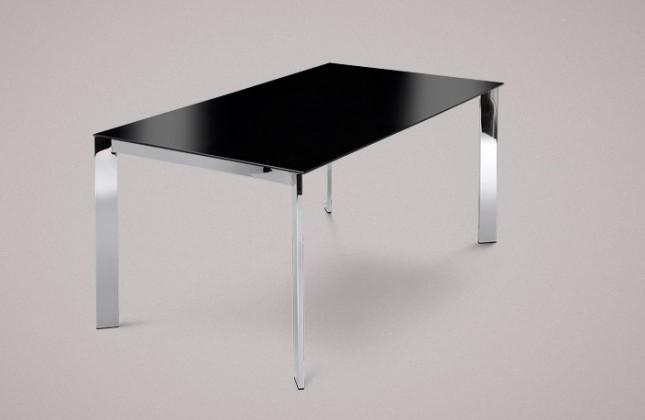 Jedálenský stôl Universe-130 (chróm - nohy, lakované sklo čierne - doska)