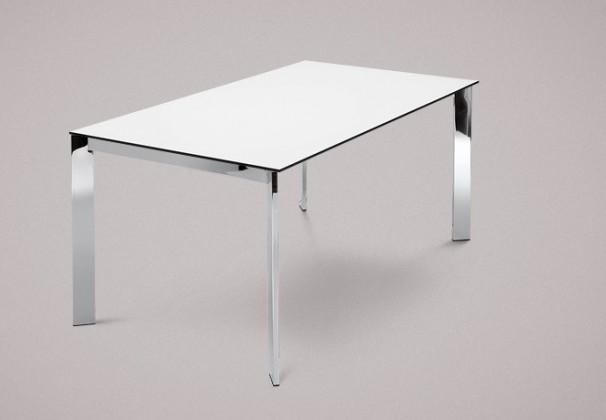 Jedálenský stôl Universe-130 (chróm - nohy, lamino biele - doska)