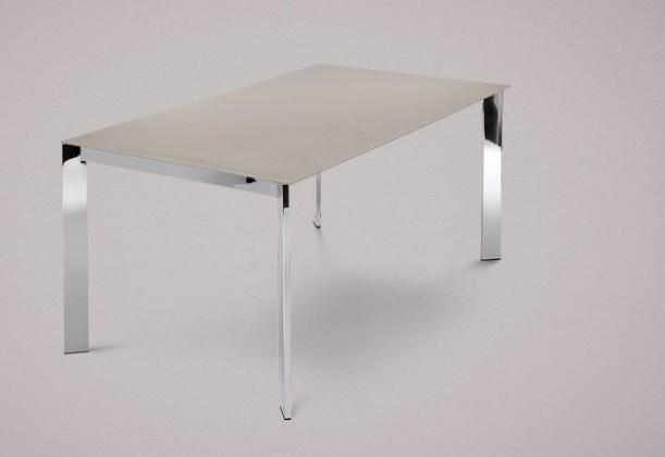 Jedálenský stôl Universe-130 (chróm - nohy, leptané sklo sivé - doska)