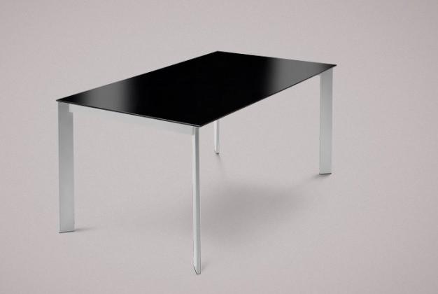 Jedálenský stôl Universe-130 (hliník - nohy, lakované sklo čierne - doska)