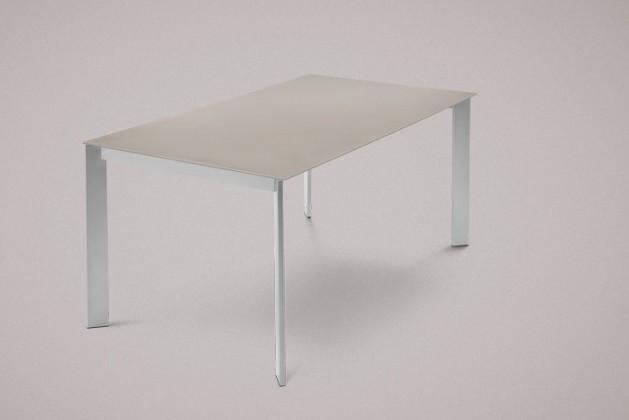 Jedálenský stôl Universe-130 (hliník - nohy, leptané sklo sivé - doska)
