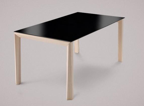 Jedálenský stôl Universe-130 (jaseň - nohy, lakované sklo čierne - doska)