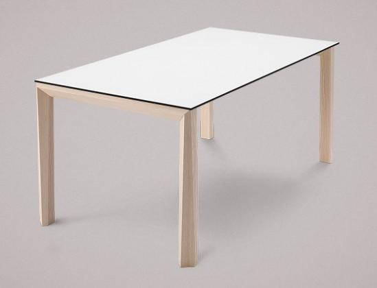 Jedálenský stôl Universe-130 (jaseň - nohy, lamino biela - doska)