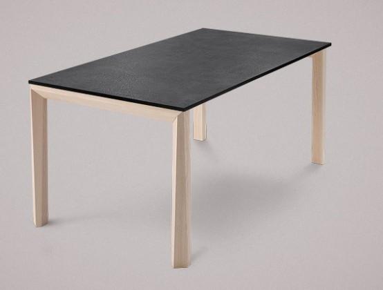 Jedálenský stôl Universe-130 (jaseň - nohy, lamino bridlice - doska)