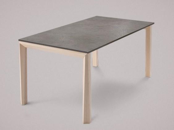 Jedálenský stôl Universe-130 (jaseň - nohy, lamino kameň sivobéžový - doska)
