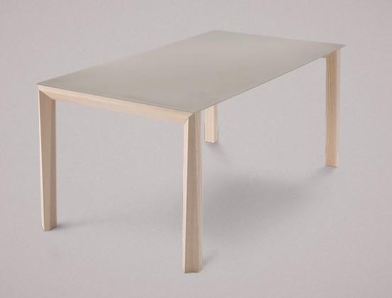 Jedálenský stôl Universe-130 (jaseň - nohy, leptané sklo sivé - doska)