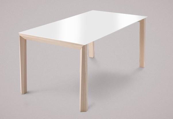 Jedálenský stôl Universe-130 (jaseň - nohy, sklo extra biele - doska)