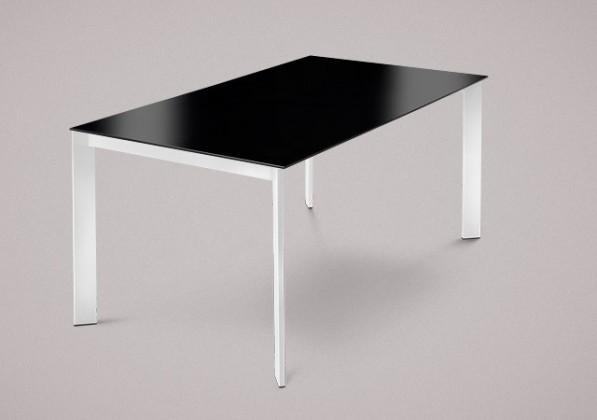 Jedálenský stôl Universe-130 (lak biely - nohy, lakované sklo čierne - doska)