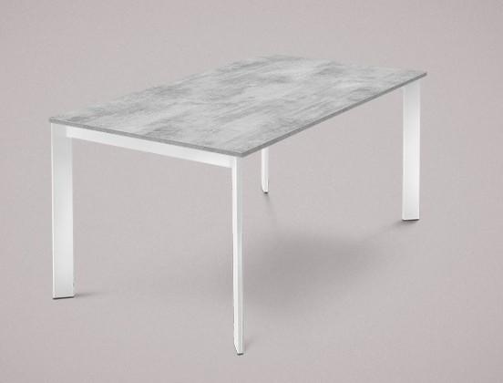 Jedálenský stôl Universe-130 (lak biely - nohy, lamino cement - doska)