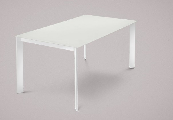 Jedálenský stôl Universe-130 (lak biely - nohy, leptané sklo biele - doska)