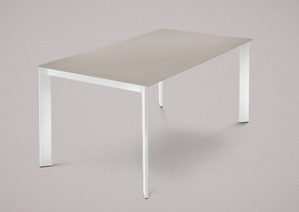 Jedálenský stôl Universe-130 (lak biely - nohy, leptané sklo sivé - doska)