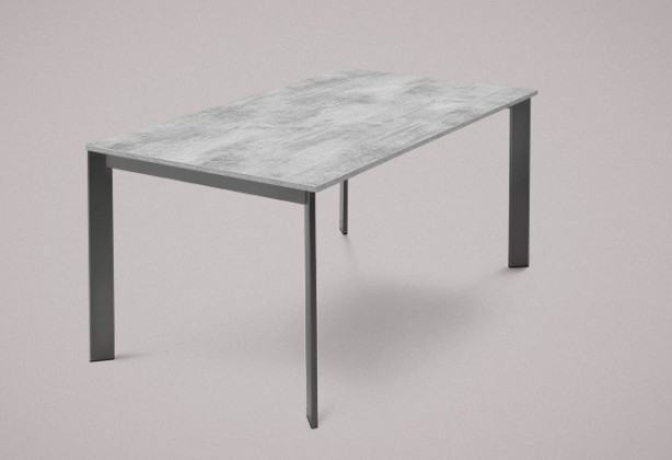 Jedálenský stôl Universe-130 (lak matný antracit-nohy, lamino cement-doska)
