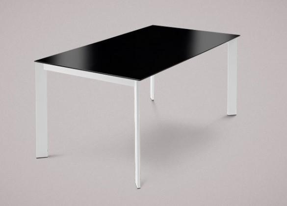Jedálenský stôl Universe-130 (lak matný biely-nohy,lakované sklo čierne-doska)