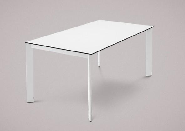 Jedálenský stôl Universe-130 (lak matný biely - nohy, lamino biele - doska)
