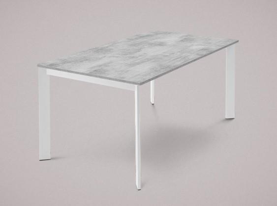 Jedálenský stôl Universe-130 (lak matný biely - nohy, lamino cement - doska)