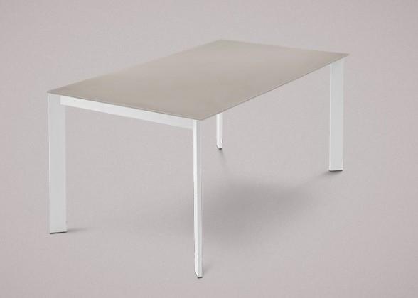Jedálenský stôl Universe-130 (lak matný biely - nohy, leptané sklo sivé - doska)