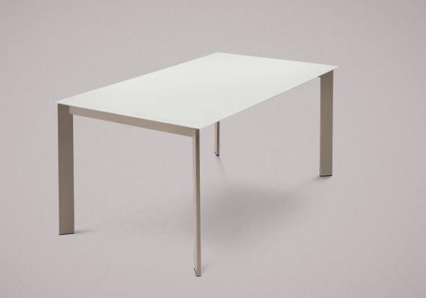 Jedálenský stôl Universe-130 (lak matný sivobéžový,leptané sklo biele)