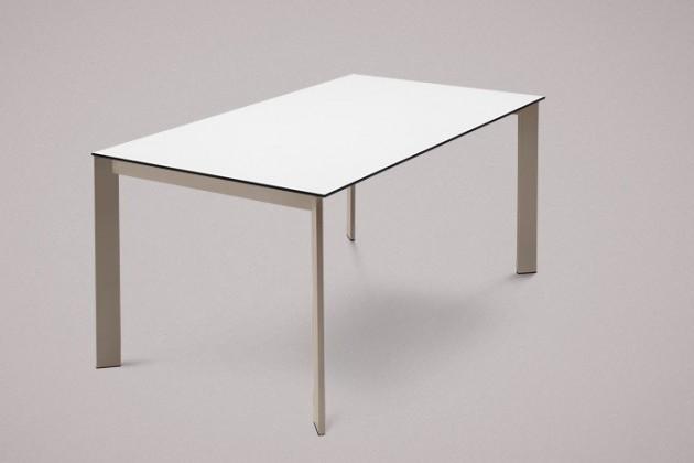 Jedálenský stôl Universe-130 (lak matný sivobéžový-nohy, lamino biele-doska)