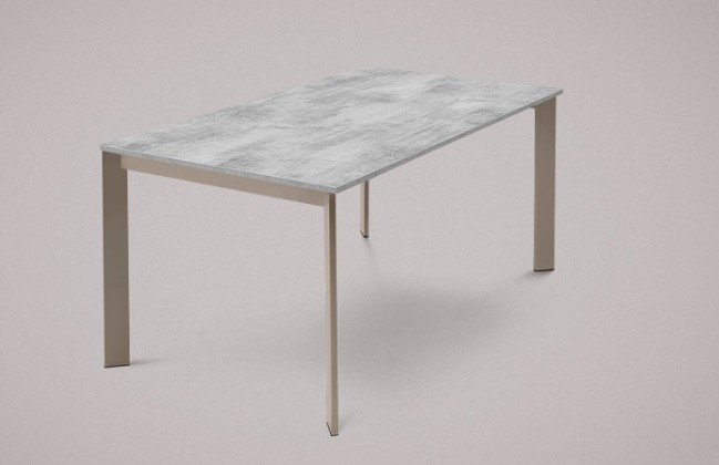 Jedálenský stôl Universe-130 (lak matný sivobéžový-nohy, lamino cement-doska)