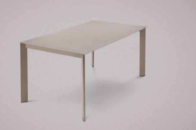 Jedálenský stôl Universe-130 (lak matný sivobéžový-nohy,leptané sklo sivá-doska)
