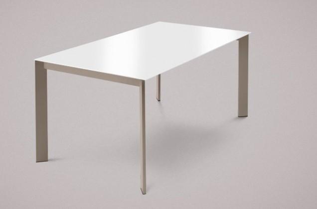 Jedálenský stôl Universe-130 (lak matný sivobéžový-nohy, sklo extra biele-doska)