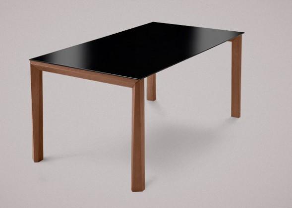 Jedálenský stôl Universe-130 (orech - nohy, lakované sklo čierne - doska)