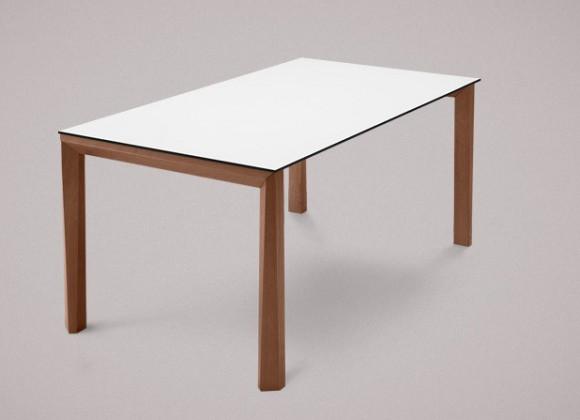 Jedálenský stôl Universe-130 (orech - nohy, lamino biele - doska)