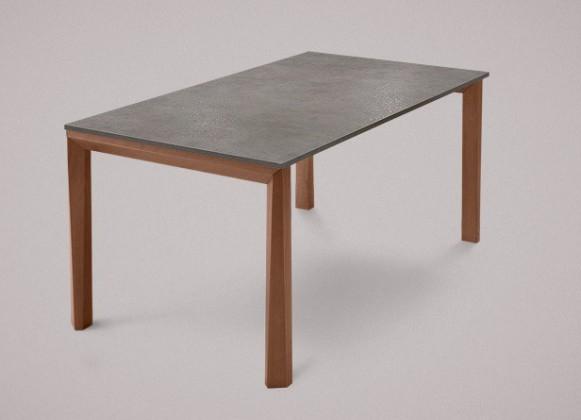 Jedálenský stôl Universe-130 (orech - nohy, lamino kameň sivobéžový - doska)